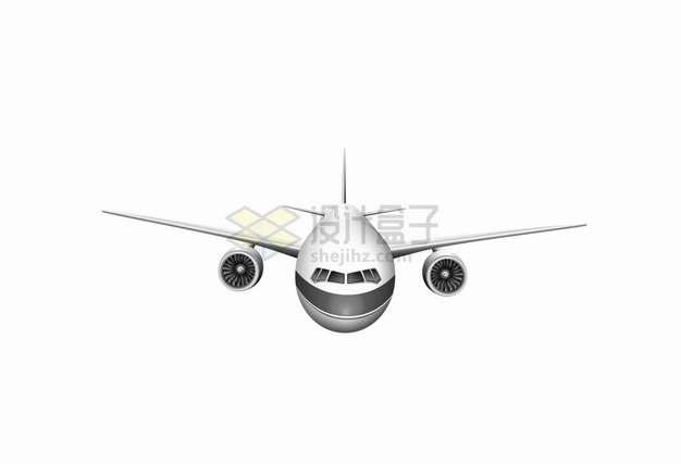 银色和黑色涂装的大型客机飞机正面图8373650png图片素材