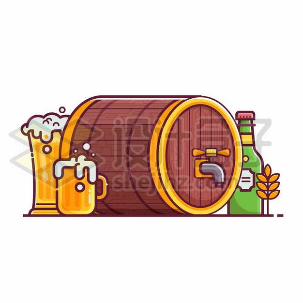 MBE风格的啤酒桶和啤酒杯684785矢量图片免抠素材