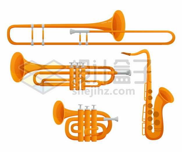 各种小号萨克斯等管乐器707481png免抠图片素材