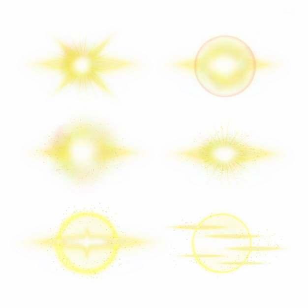 6款黄色光芒效果发光感光效果装饰662599PSD免抠图片素材
