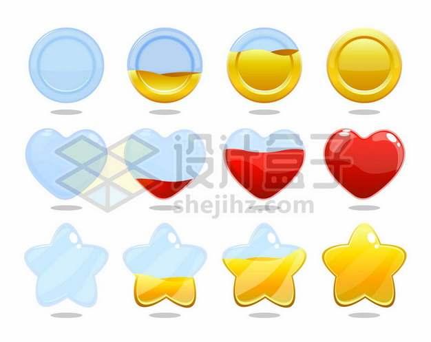 不同高度黄色红色液体的金币红心五角星图案153492png免抠图片素材
