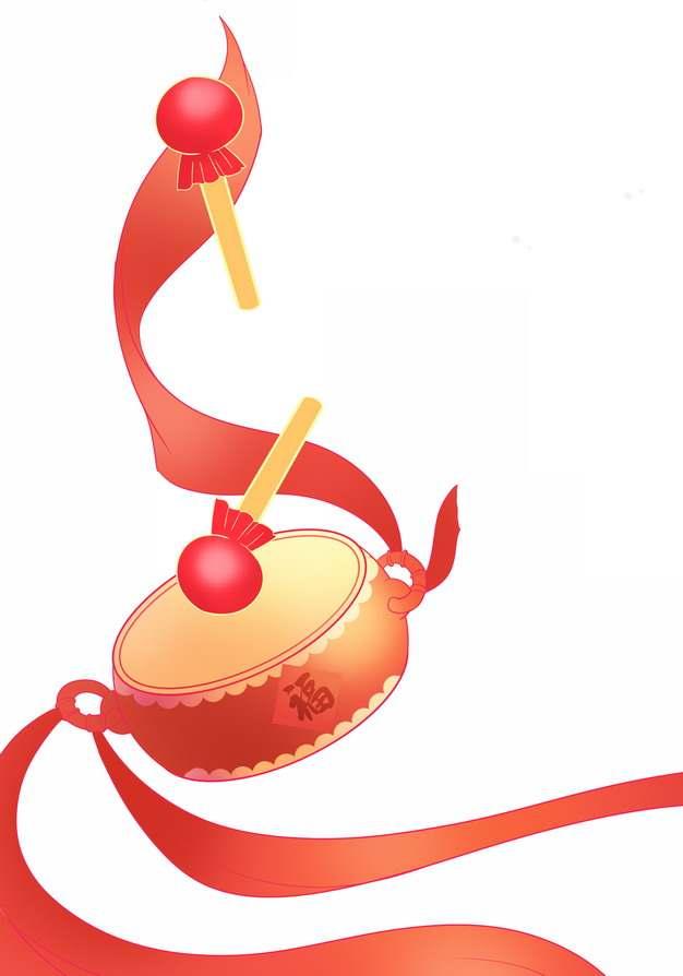 新年春节红色花鼓敲鼓大鼓和彩带929769png图片免抠素材