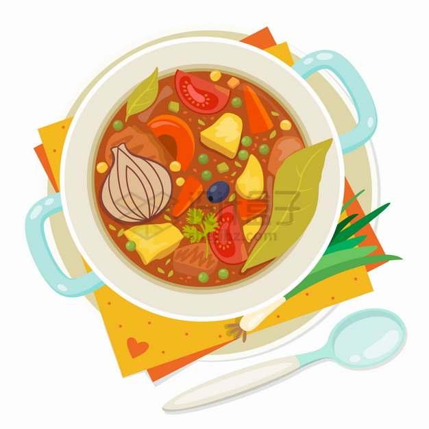 一碗罗宋汤美味美食俯视视角png图片素材
