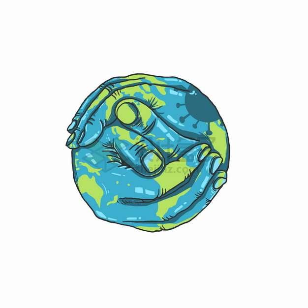 创意双手组成了地球模型手绘插画png图片素材