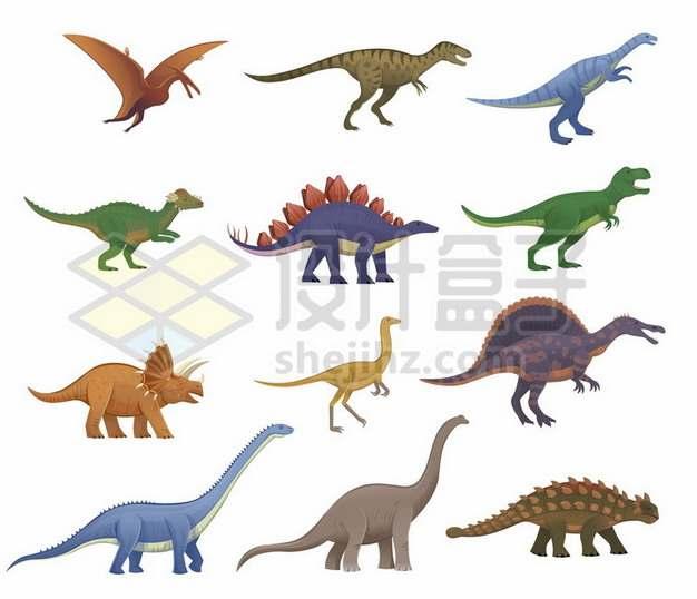 翼龙剑龙三角龙迅猛龙梁龙雷龙甲龙棘龙等各种恐龙种类309656矢量图片免抠素材