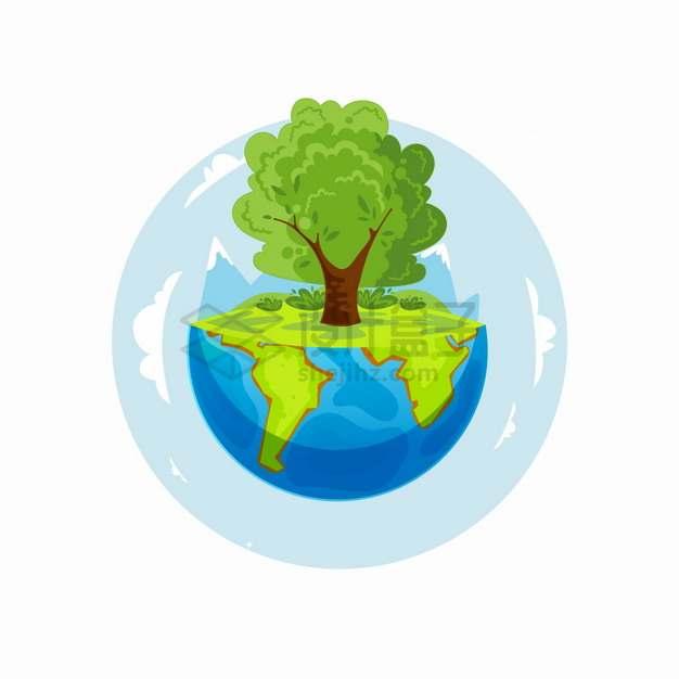 半个地球上长出了一棵参天大树保护地球环境主题插画png图片素材