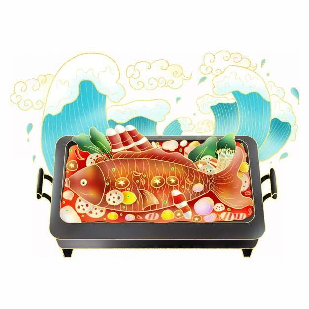 中国风海浪和烤鱼水煮鱼美食插画291452png图片免抠素材