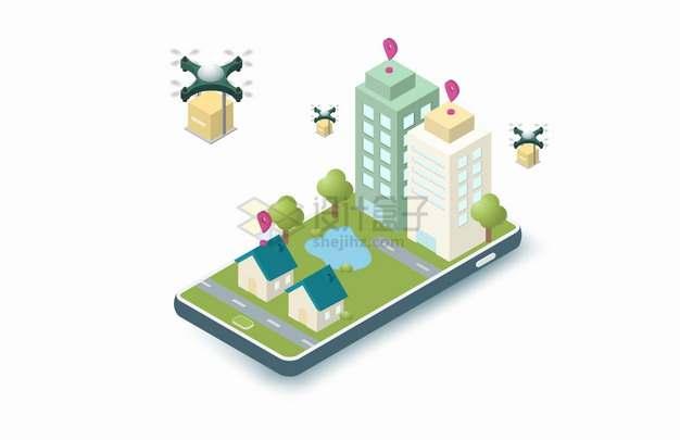 2.5D风格手机上的城市和无人机快递送货png图片素材