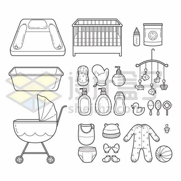 婴儿床奶瓶玩具童装等宝宝用品线条插画419393免抠矢量图片素材