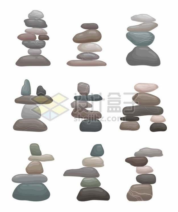 9款放在一起的石块石头637505png矢量图片素材