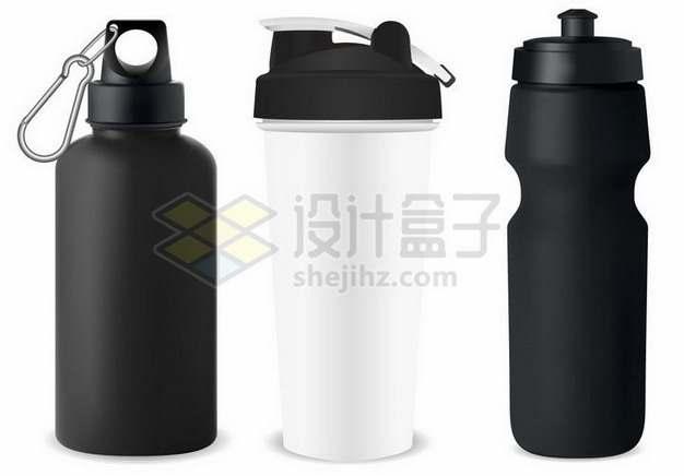 三张类型的黑白色运动水壶252083png矢量图片素材