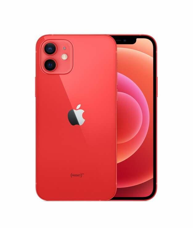 正面背面展示的红色苹果iPhone 12 Pro手机png免抠图片素材103256