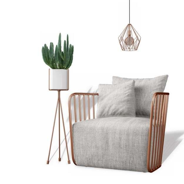 木制单人沙发靠枕和花盆架822100免抠图片素材