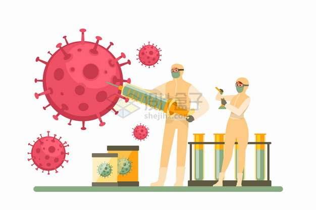 医生拿着注射器研究红色新型冠状病毒png图片素材