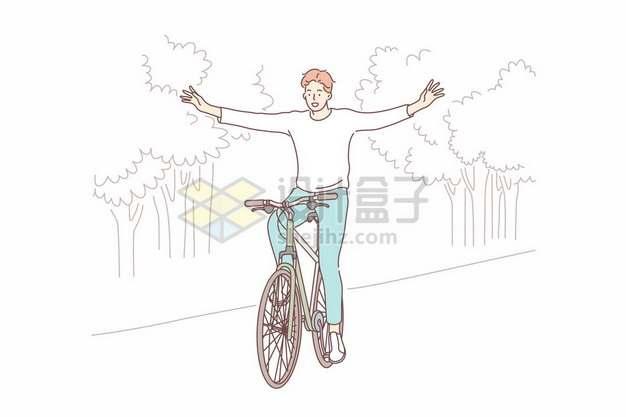 卡通男孩放手骑自行车手绘插画788547png矢量图片素材