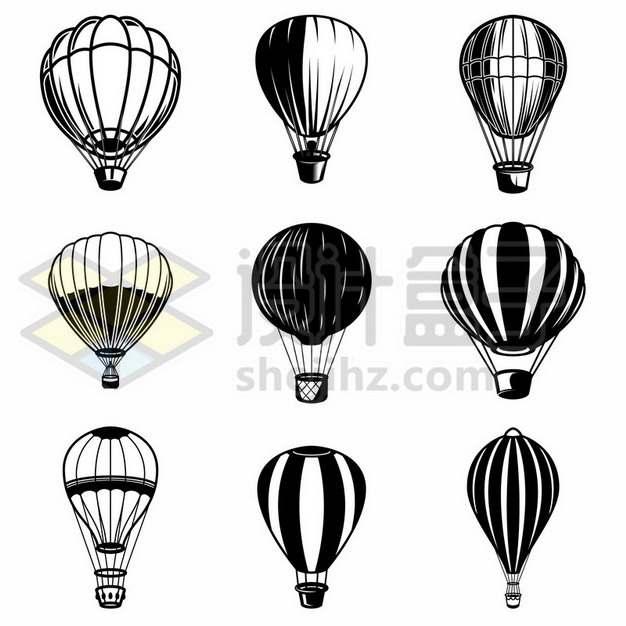 9款黑色手绘风格热气球287127免抠矢量图片素材