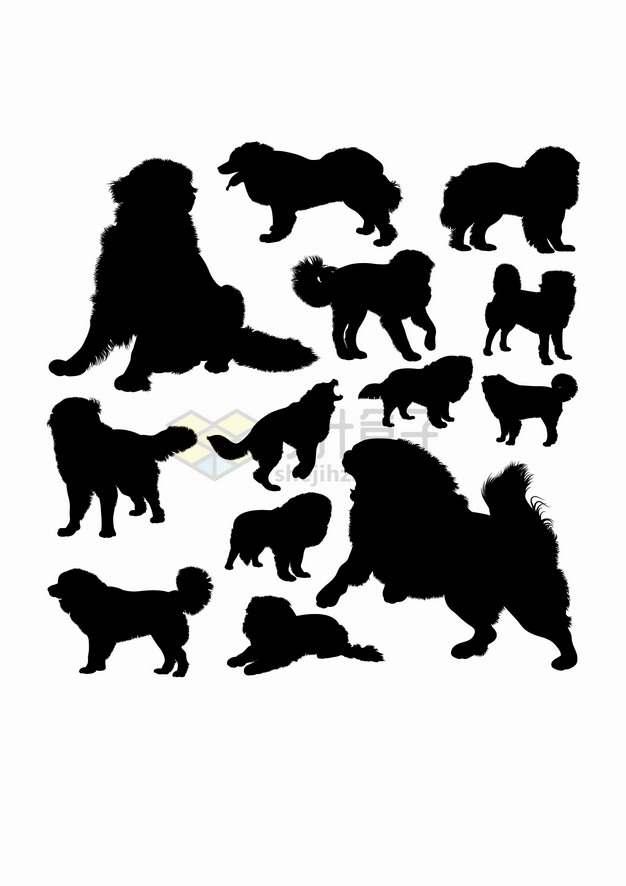 藏獒狗狗宠物狗动物剪影合集png图片素材