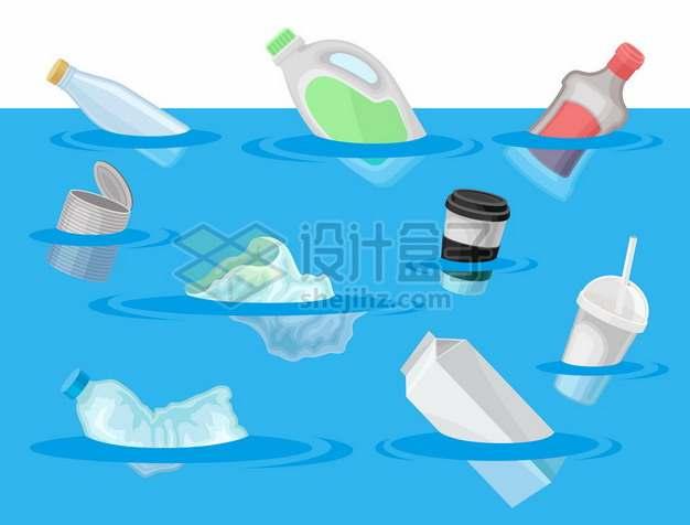 蓝色海洋上的塑料垃圾污染989494png矢量图片素材