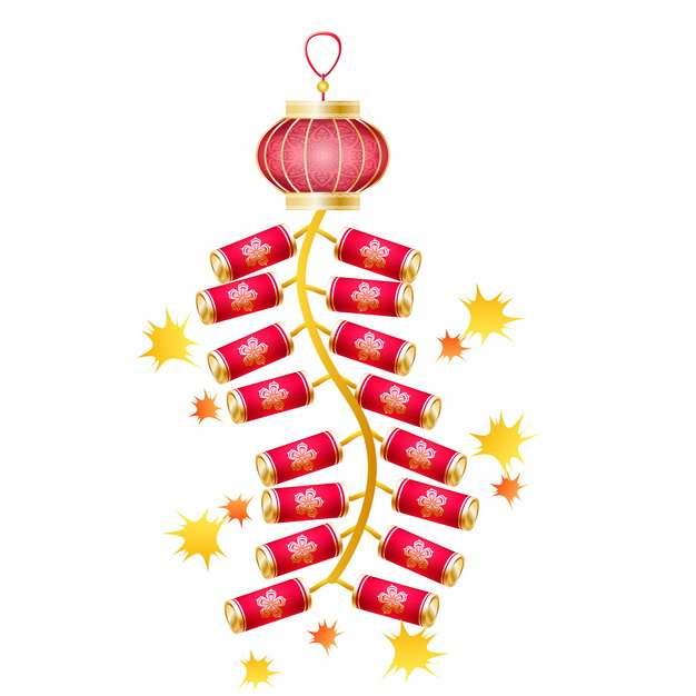 新年春节过年一串鞭炮喜庆装饰775277AI矢量图片素材