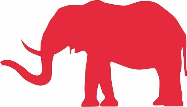 一头红色大象剪影650635png图片免抠素材 生物自然-第1张