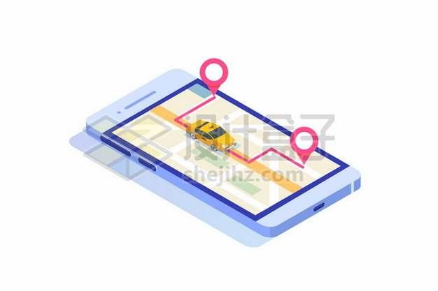 手机上的打车APP和城市地图868253免抠矢量图片素材