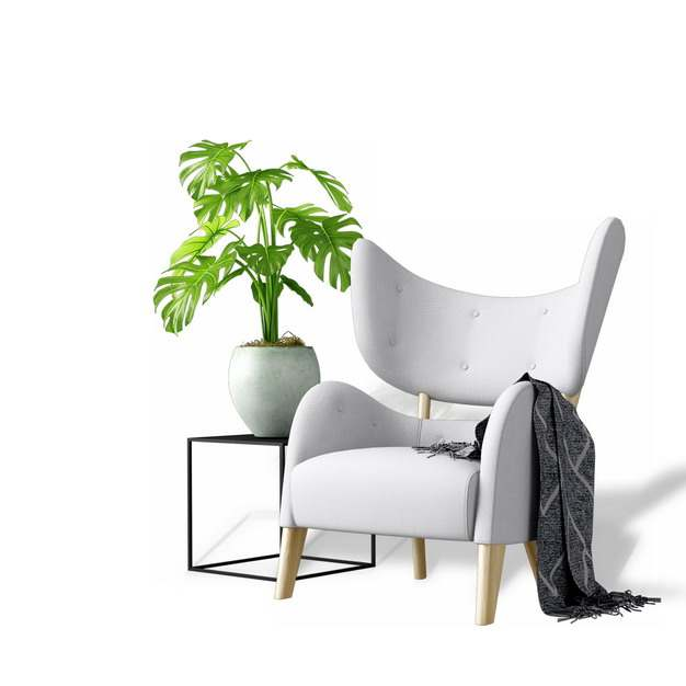 单人沙发椅子和花盆架上的盆栽植物940836免抠图片素材