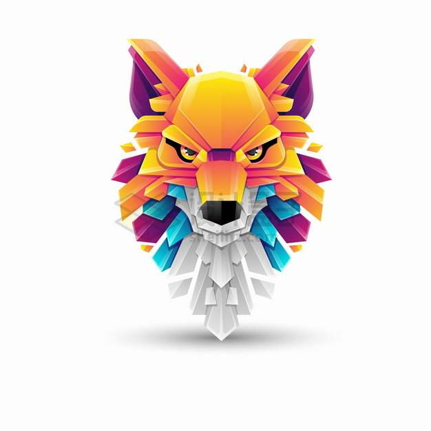 多彩色块组成的野狼大灰狼logo设计png图片素材