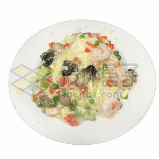 虾仁蘑菇鸡蛋羹盖浇饭986029png免抠图片素材 生活素材-第1张