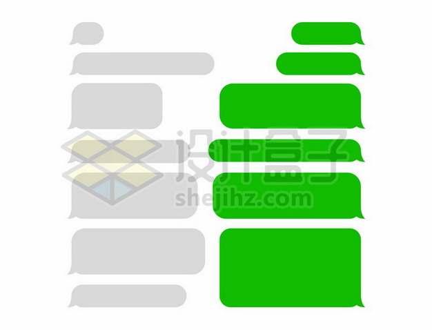 扁平化风格灰色和绿色微信等聊天APP对话框气泡框143399矢量图片免抠素材