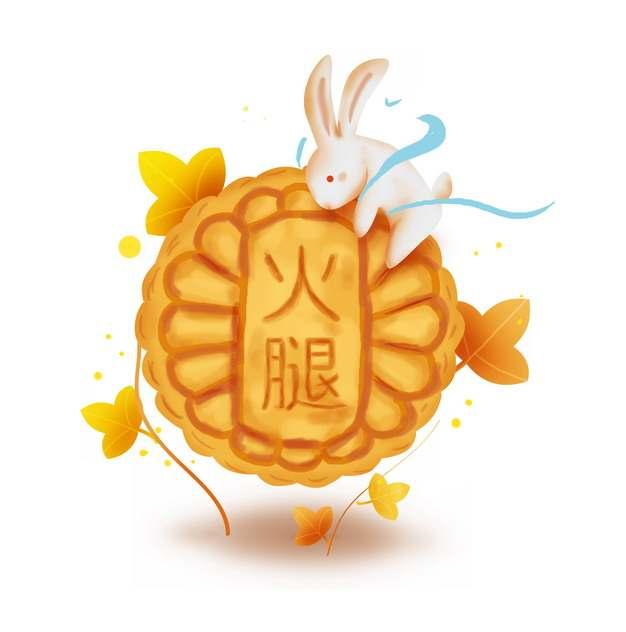 超可爱玉兔和火腿月饼中秋节459465免抠图片素材