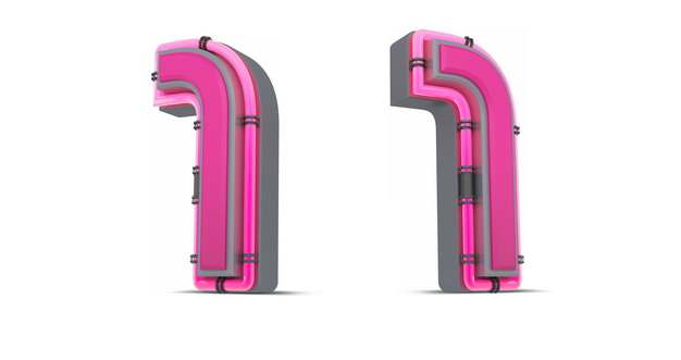 C4D风格粉红色3D立体数字一1艺术字体514510免抠图片素材