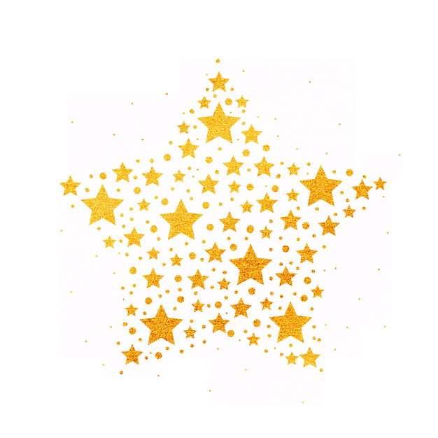 金色五角星手绘星星图案聚集631244PSD免抠图片素材