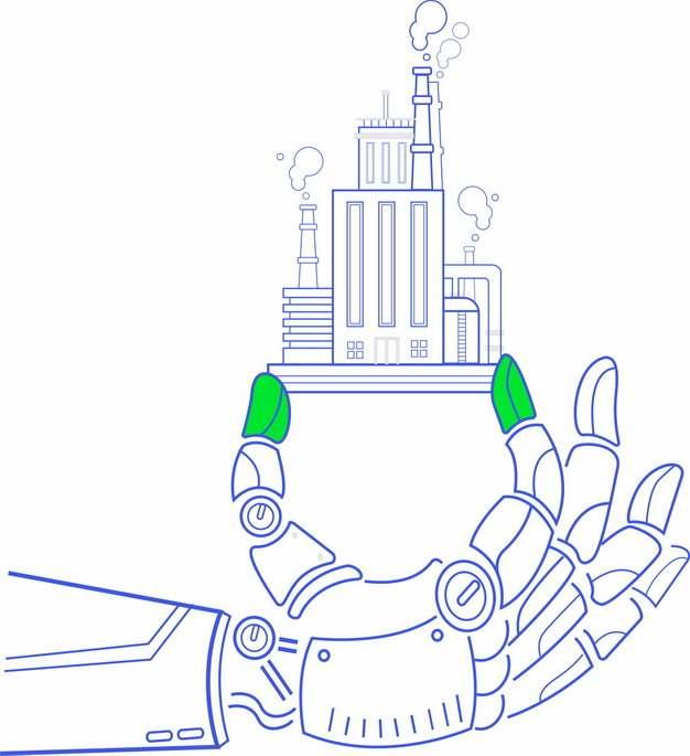 蓝色线条机械手臂拿着一个线条工厂260322png图片免抠素材