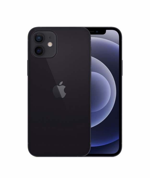 正面背面展示的黑色苹果iPhone 12 Pro手机png免抠图片素材203647