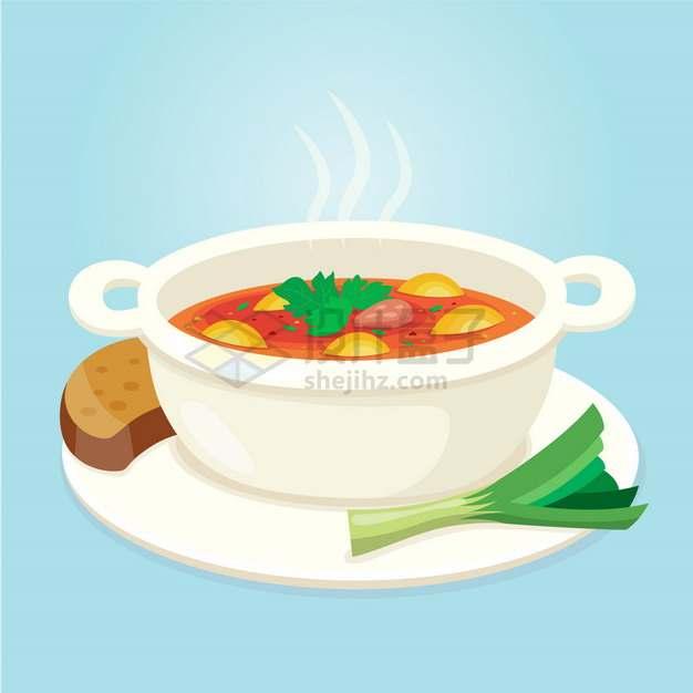 一碗美味的罗宋汤美味美食扁平插画png图片素材