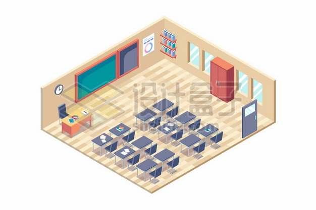 2.5D风格课堂黑板课桌书架等888352免抠矢量图片素材