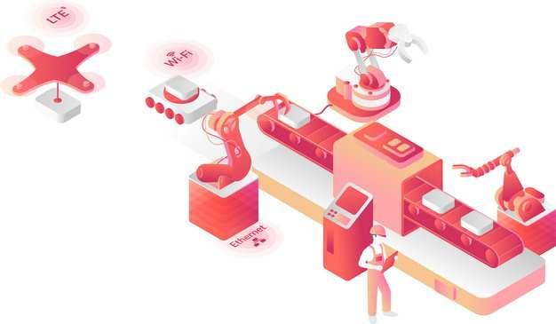 红色工业4.0互联网只能制造机械手臂生产流水线944447png图片免抠素材