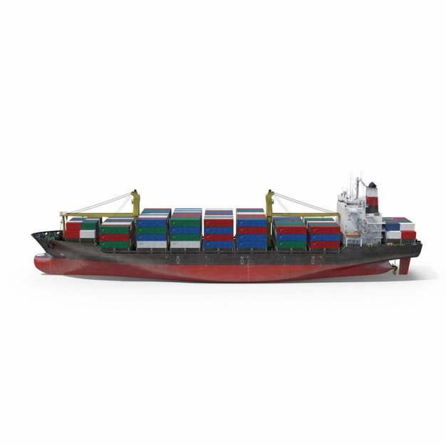 一艘集装箱货轮巨型轮船侧面图233322png图片免抠素材