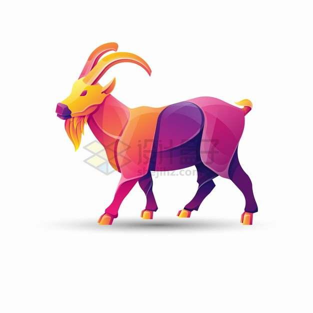 多彩色块组成的山羊公羊logo设计png图片素材