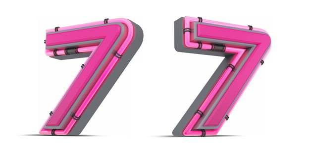 C4D风格粉红色3D立体数字七7艺术字体394255免抠图片素材