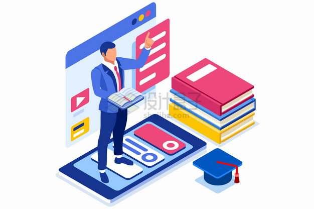 2.5D风格手机上的讲师正在授课网络课程网课远程教学png图片素材