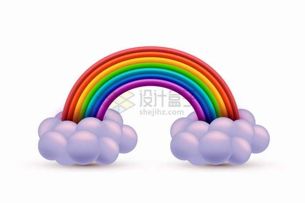 3D立体云朵和七彩虹6348955png图片素材