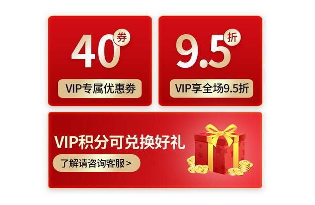 三款红色VIP专属优惠券电商店铺促销253779免抠图片素材 电商元素-第1张