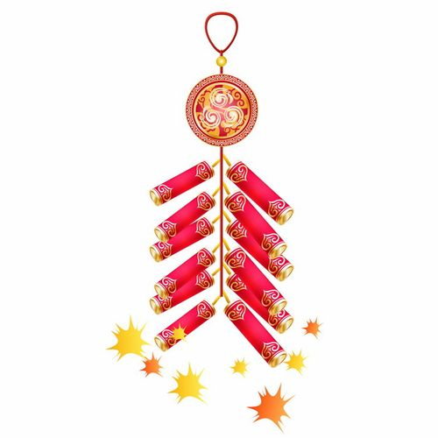 新年春节过年一串鞭炮喜庆装饰212675AI矢量图片素材