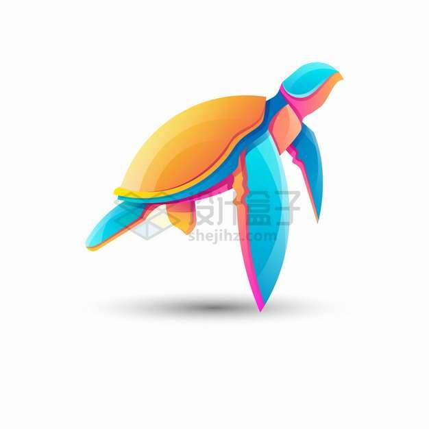 多彩色块组成的海龟logo设计png图片素材
