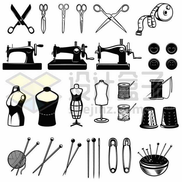 剪刀皮尺缝纫机别针等裁缝物品362188免抠矢量图片素材