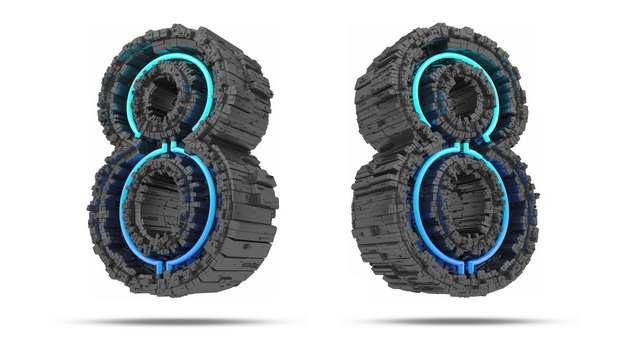 C4D风格黑色工业风3D立体数字八8艺术字体776720免抠图片素材
