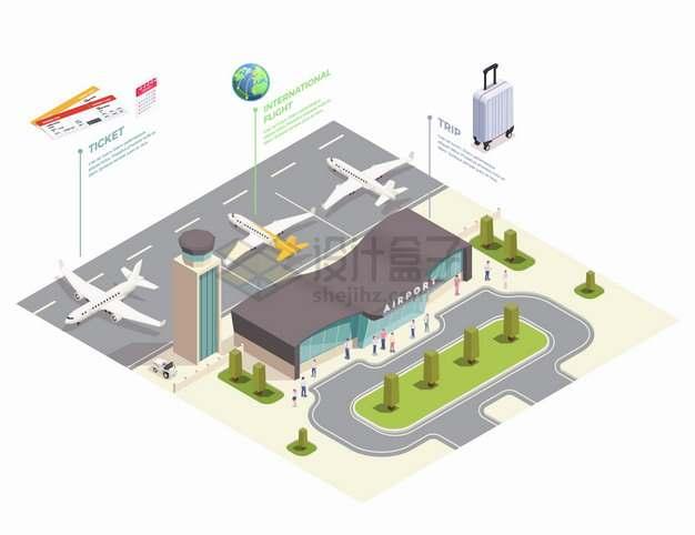 2.5D风格飞机场候机大厅和飞机以及飞行跑道png图片素材