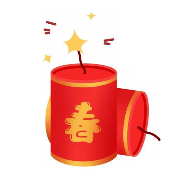 春节新年红色的卡通炮仗鞭炮插画876381png图片免抠素材