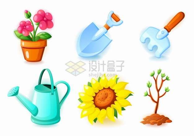 卡通花盆中的花朵铲子钉耙浇水壶太阳花小树苗等盆栽用品png图片素材